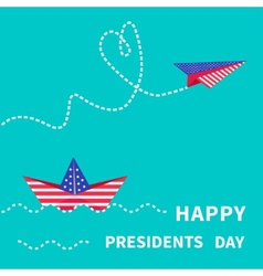 Presidents day background paper boat vector