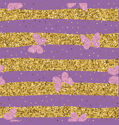 purple pink glittering butterflies on striped vector image