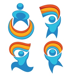 Rainbow people vector
