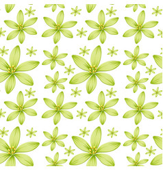 Seamless background design with green flowers vector