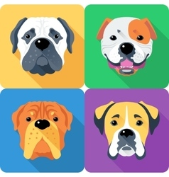 Set dog head icon flat design vector image