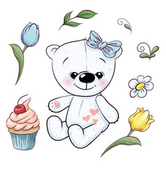 set little white teddy bear and flowers hand vector image