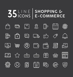 set of online shopping modern flat thin ico vector image
