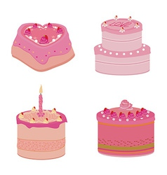 Set of pink sweets cakes vector image