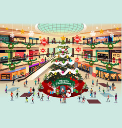 Shopping mall during christmas vector