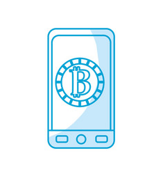 Silhouette smartphone with bitcoin currency symbol vector