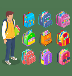 standing boy with books backpacks with stationery vector image