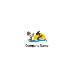 surf beach sport holiday company logo vector image