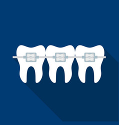 teeth with dental braces icon in flat style vector image
