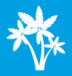 Three palm trees icon white vector