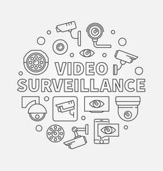 Video surveillance round outlne vector