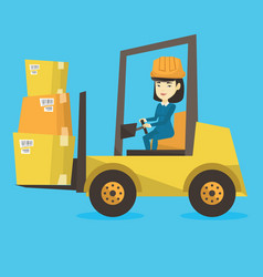 Warehouse worker moving load by forklift truck vector