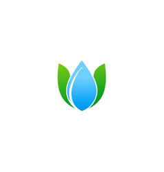 water drop green leaf ecology logo vector image