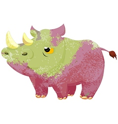 watercolor rhino isolated on white background vector image