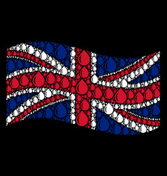 waving british flag pattern of drop icons vector image