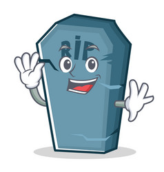 Waving tombstone character cartoon object vector
