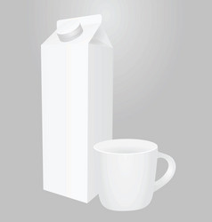 white liquid pack and cup vector image