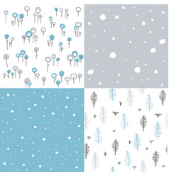 winter seamless floral patterns vector image