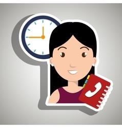 Woman directory telephone clock vector