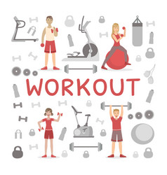 Workout banner template people exercising with vector