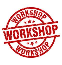 workshop round red grunge stamp vector image