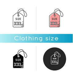 Xxl size label icon linear black and rgb color vector