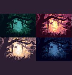 beautiful jungle landscapes set vector image