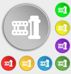 film Icon sign Symbol on eight flat buttons vector image