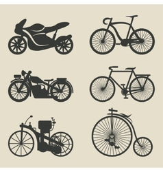 motorcycle and bicycle icons vector image