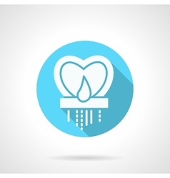 Round blue heart candlestick flat icon vector image vector image