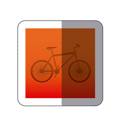 sticker color background with carved bike vector image