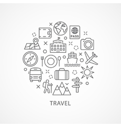 Travel with icons in linear style vector image