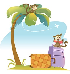 Tropical landscape with palm tree and suitcases vector