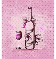 Vintage hand drawn bottle of wine vector image vector image