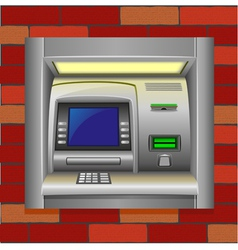 Atm on a brick wall vector