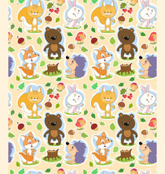 seamless cartoon pattern with cute forest animals vector image vector image
