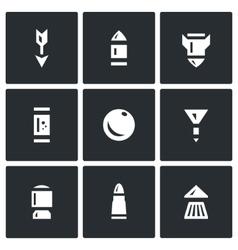 Set of Ammunition Icons Arrow Bullet vector image