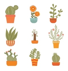 Beautiful set of hand drawn houseplants vector image