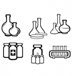 science and medical flasks vector image vector image
