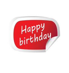 Sticker red with happy birthday message vector