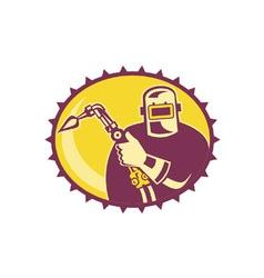 Welder Worker Welding Torch Retro vector image vector image
