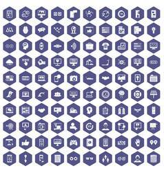 100 interface icons hexagon purple vector