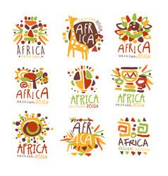 Africa set for logo original design travel to vector