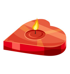 heart shaped candle icon cartoon style vector image