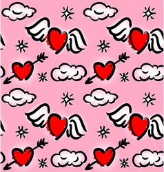 Pattern with hearts and clouds vector image vector image
