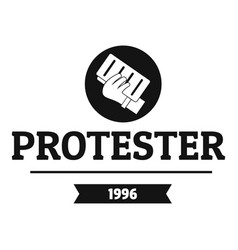 protester leaflet logo simple black style vector image