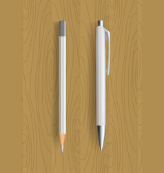 white pencil and pen on wooden table vector image