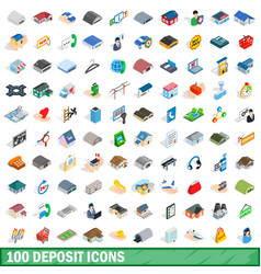 100 deposit icons set isometric 3d style vector image
