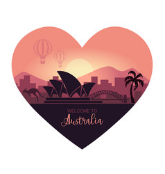 abstract landscape australia at sunsetin vector image
