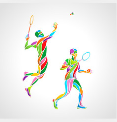Abstract mens doubles badminton players color vector